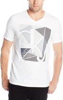 Calvin Klein Jeans Men's Mixed Techniques Logo Graphic V-Neck T-Shirt