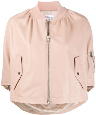 RED Valentino Ruffle-Detail Cropped Bomber Jacket