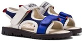 Moschino Kid-Teen Blue Branded Velcro Sandals