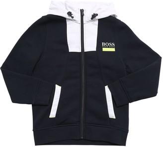 HUGO BOSS Logo Cotton Blend Zip Sweatshirt Hoodie