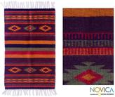 Novica Zapotec 'Festival' Wool Rug (2 x 3.4 inches) (Mexico)