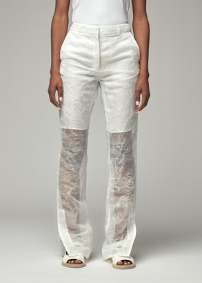 Cecilie Bahnsen Women's Elisabeth Fitted Trouser Pants With Split End in White Size 6 100% Polyester