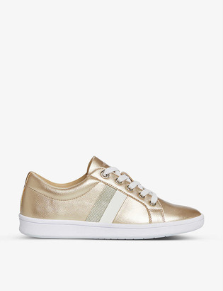 Dune Emanuel stripe metallic faux-leather trainers