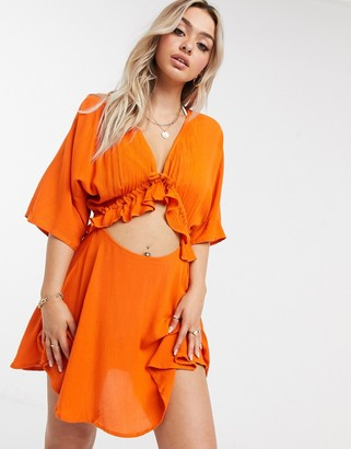ASOS DESIGN channel front beach dress in burnt orange