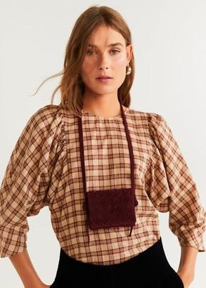 MANGO Braided leather bag burgundy - One size - Women