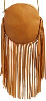 Street Level Fringe Faux Leather Round Crossbody Bag - Brown