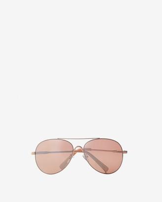 Express Mirrored Gold Metal Frame Aviator Sunglasses