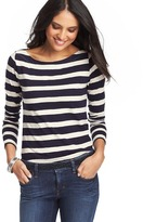 Striped Cotton Long Sleeve Boatneck Tee