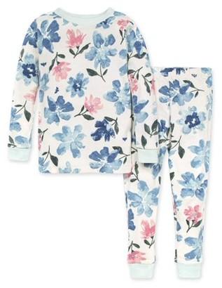 Burt's Bees Baby Organic Cotton Baby Girls & Toddler Girls Snug Fit Long Sleeve Pajamas, 2-Piece Set (12M-5T)
