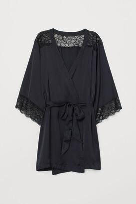 H&M Satin and Lace Bathrobe - Black