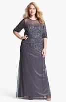 Adrianna Papell Plus Size Women's Beaded Illusion Gown