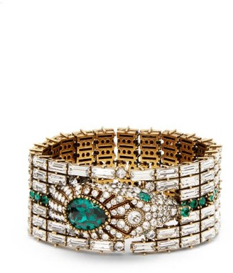 Gucci Crystal-embellished Snake Bracelet - Womens - Green