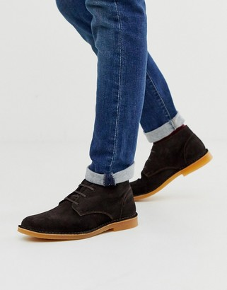 Selected suede desert boots in brown
