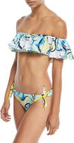 Emilio Pucci Nastri Baby Printed Off-Shoulder Ruffle Bikini Set