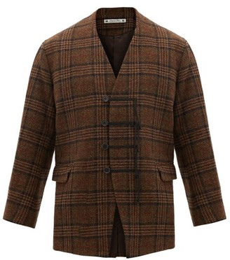 SASQUATCHfabrix. Frog-button Wool-tweed Jacket - Mens - Navy Gold