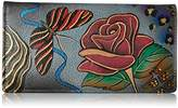 Anuschka Handpainted Leather 1714-RSG Ladies Wallet Snap Button Closure