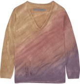 Raquel Allegra Boyfriends Distressed Tie-dyed Merino Wool And Cashmere-blend Sweater - Antique rose