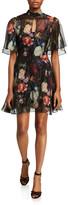 ADAM by Adam Lippes Floral Print Metallic Chiffon Mini Dress