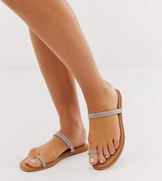 Asos Design DESIGN Wide Fit Fairness embellished toe loop flat sandals-Beige