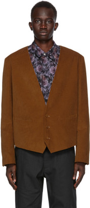 4SDESIGNS Tan Corduroy Waistcoat Blazer