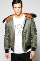 boohoo Nylon Hooded Bomber Jacket khaki