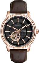 Bulova Mens Classic Brown Leather Strap Automatic Watch 97A109