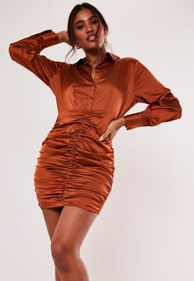 Missguided Rust Satin Ruched Shirt Dress
