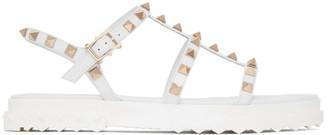 Valentino White Garavani Rockstud Flat Sandals