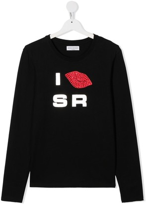 Sonia Rykiel Enfant TEEN studded lips print T-shirt
