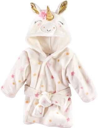 Luvable Friends Girls' Bath Robes Unicorn - White & Gold Unicorn Plush Bathrobe - Newborn