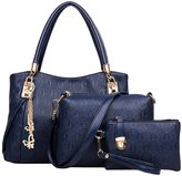 Win8Fong Women's 3 Pcs Set Vintage PU Leather Handbag Shoulder Bag Tote Satchel Hobo Bag