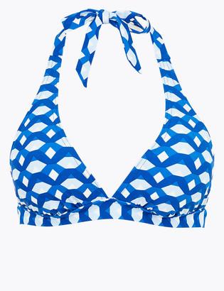 Marks and Spencer Geometric Plunge Halterneck Bikini Top