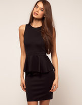Peplum Pencil Dress With Open Back