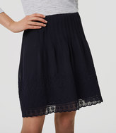 LOFT Daisy Embroidered Pintuck Skirt