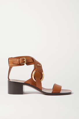 Chloé Demi Embellished Leather Sandals - Tan