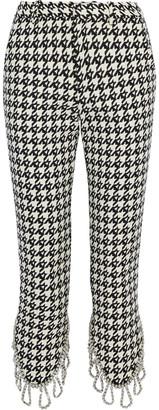 Area Cropped Crystal-trimmed Houndstooth Wool-blend Slim-leg Pants