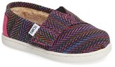 Toms Toddler Girl's Classic - Tiny Herringbone Faux Shearling Lined Slip-On