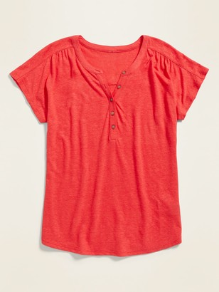 Old Navy Loose Linen-Blend Jersey Henley Top for Women