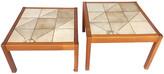 One Kings Lane Vintage Danish Tile-Top Side Tables - Set of 2 - nihil novi - beige/brown
