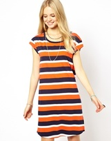 Pepe Jeans Striped T-Shirt Dress - Orange/navy
