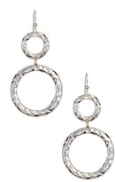 Simon Sebbag Sterling Silver Hammered Double Ring Earrings