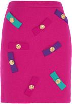Moschino Embellished wool-crepe mini skirt