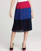 DKNY DKNYC Pleated Color Block Skirt