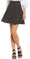 Soprano Polka Dot Fit-And-Flare Knit Skirt