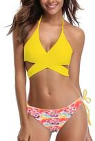 Belle De Jour Belle de Jour Women's Bikini Bottoms YELLOW - Yellow Wrap-Back Halter Bikini Top & Coral Abstract Bottoms - Women