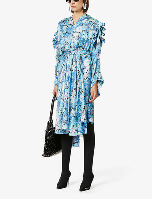 Balenciaga Gather frilled-trim satin midi dress