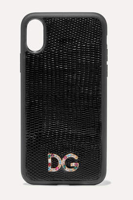 Dolce & Gabbana Crystal-embellished Lizard-effect Leather Iphone X And Xs Phone Case - Black
