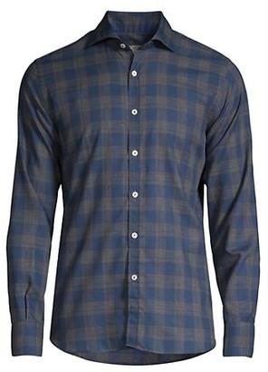 Canali Woven Plaid Sport Shirt