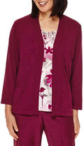 Alfred Dunner Veneto Valley 3/4-Sleeve Floral-Print Layered Sweater