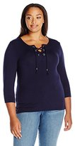 Democracy Women's Plus Size 3/4 Sleeve Tied Rope Lace up Front Knit with Side Slits